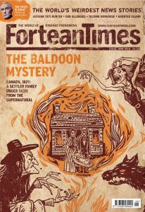 Cover of the Fortean Times featuring the article The Baldoon Mystery with an illustration of witches and black dog looking at a burning cabin