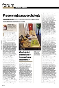 "An image of a page from the article ""Preserving Parapsychology"" published in Fortean Times features a photograph of a table on which are displayed ouija boards"