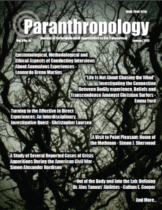 Cover of the journal Paranthropology featuring the contents for the issue