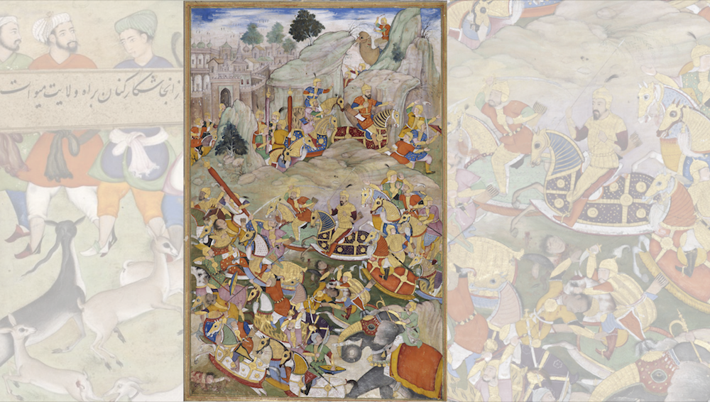 A historic painting showing a battle in the Mughal Empire.