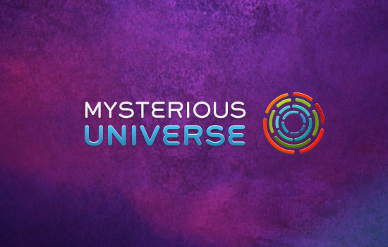 The logo for Mysterious Universe on a purple background.
