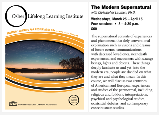 An image from the catalogue of the Osher Lifelong Learning Institution showing an image of the entry for Dr. Laursen's course The Modern Supernatural